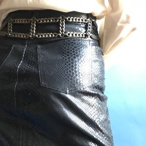 Vintage 80s block chain metal link belt